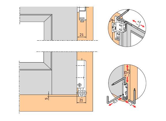 Схема регулировки створки окна